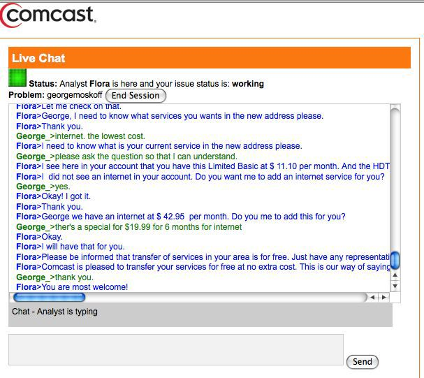 comcast customer service number chat